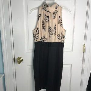 Elegant Milly of New York Beige & Black Midi Dress
